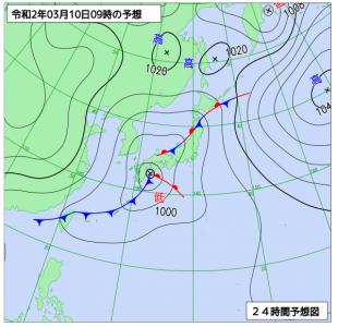 3月10日(火)9時の予想天気図