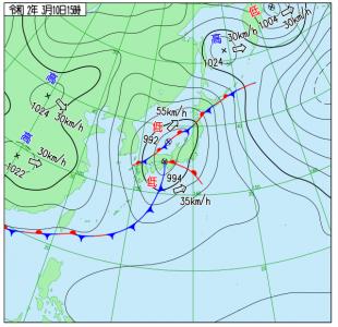 3月10日(火)15時の実況天気図