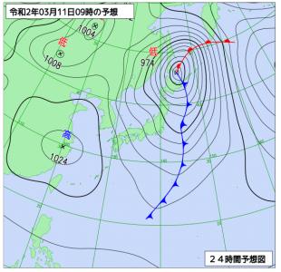 3月11日(水)9時の予想天気図