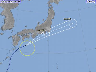 台風3号進路図(6月27日18時)
