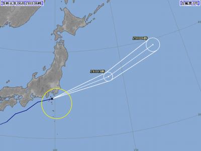台風3号進路図(6月28日6時)