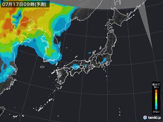 PM2.5分布予測(7月17日9時)