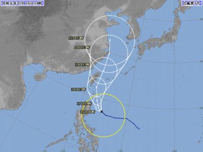 台風5号進路図(7月16日18時)