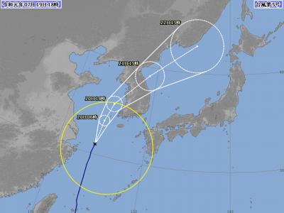 台風5号進路図(7月19日18時)