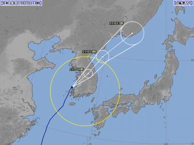 台風5号進路図(7月20日18時)