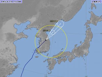 台風5号進路図(7月21日6時)