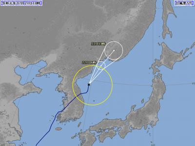 台風5号進路図(7月21日18時)