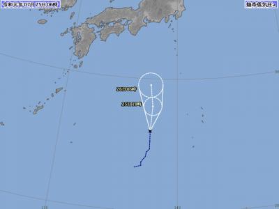 熱帯低気圧進路図(7月25日6時)