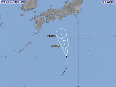 熱帯低気圧進路図(7月25日18時)