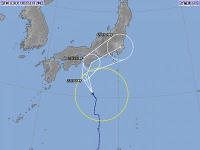 台風6号進路図(7月26日12時)