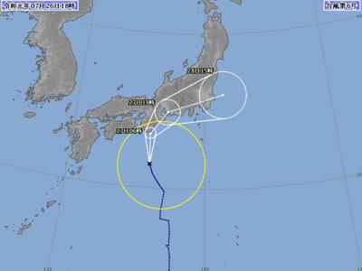 台風6号進路図(7月26日18時)
