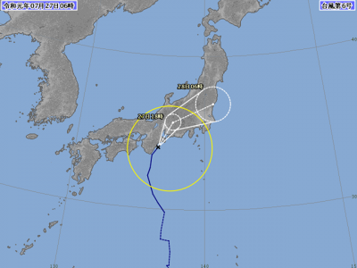 台風6号進路図(7月27日6時)