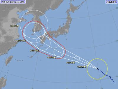 台風8号進路図(8月3日6時)