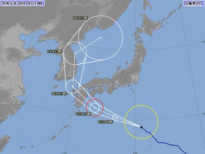 台風8号進路図(8月4日18時)