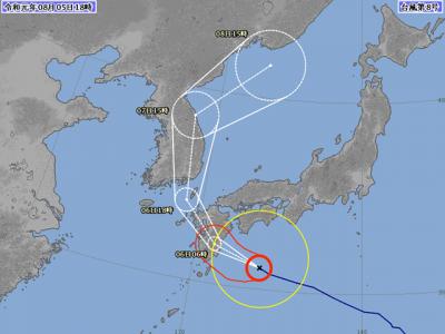 台風8号進路図(8月5日18時)