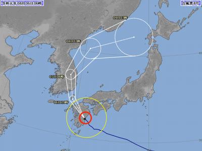 台風8号進路図(8月6日6時)