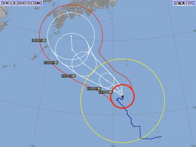 台風10号進路図(8月10日0時)