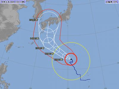 台風10号進路図(8月10日18時)