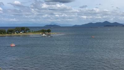山の日の3連休最終日の琵琶湖(YouTubeムービー)