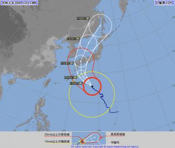 台風10号進路図(8月12日18時)