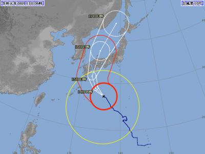 台風10号進路図(8月13日6時)