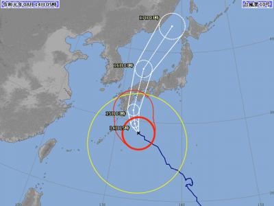 台風10号進路図(8月14日6時)