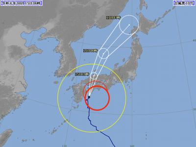 台風10号進路図(8月15日6時)