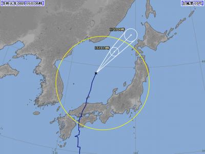 台風10号進路図(8月16日6時)