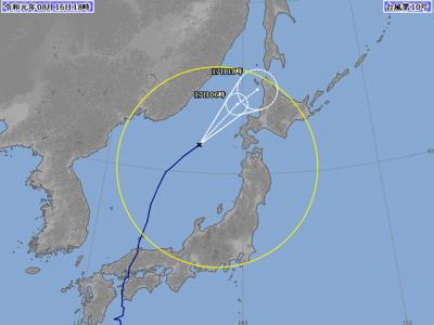 台風10号進路図(8月16日18時)