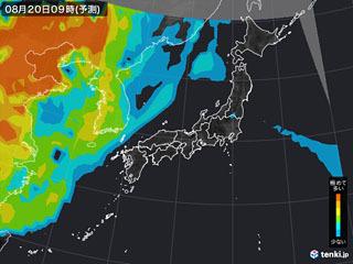 PM2.5分布予測(8月20日9時)