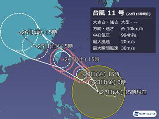 台風11号進路予想(8月22日15時)