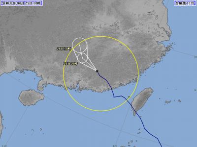 台風11号進路図(8月25日18時)