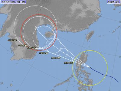 台風12号進路図(8月27日18時)
