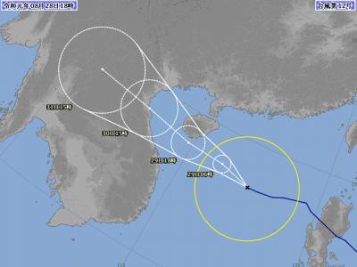 台風12号進路図(8月28日18時)