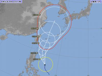 台風13号進路図(9月2日12時)