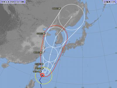 台風13号進路図(9月3日18時)