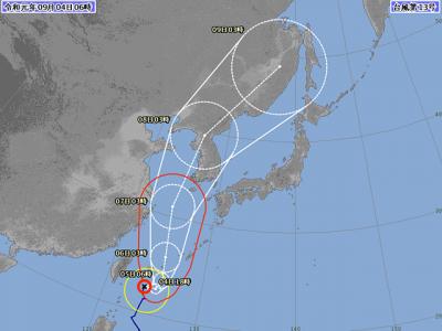 台風13号進路図(9月4日6時)