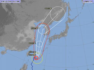 台風13号進路図(9月4日18時)