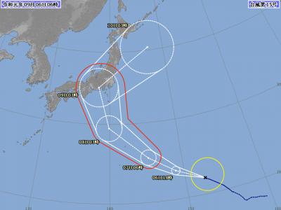 台風15号進路図(9月6日6時)