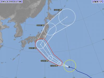 台風15号進路図(9月6日18時)