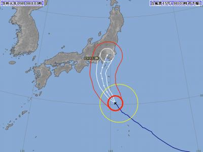 台風15号進路図(9月8日3時)