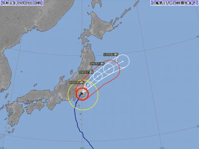 台風15号進路図(9月9日4時)