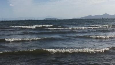 秋の風!! 真野浜から眺めた琵琶湖北湖(YouTubeムービー)
