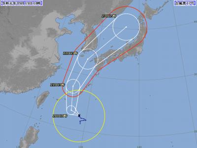 台風17号進路図(9月19日18時)