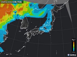 PM2.5分布予測(9月22日9時)