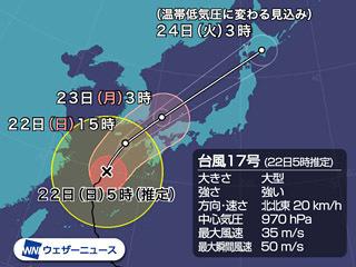 台風17号進路予想(9月22日5時)