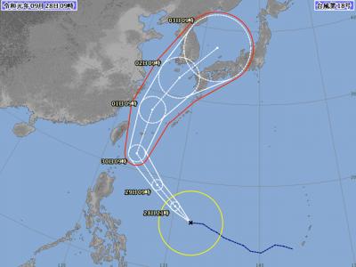台風18号進路図(9月28日9時)