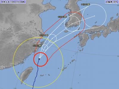 台風18号進路図(10月1日6時)