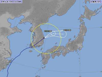 台風18号進路図(10月3日6時)