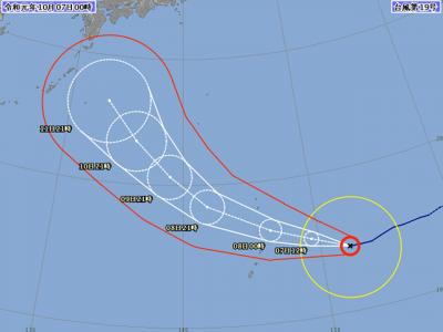 台風19号進路図(10月6日24時)